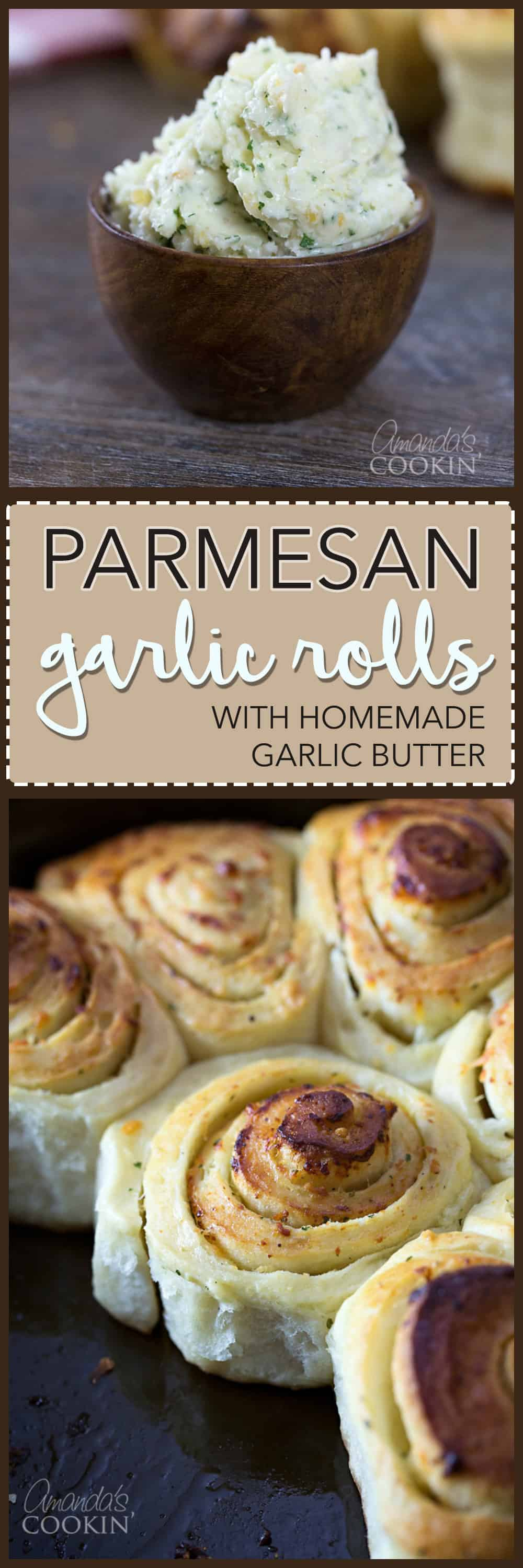 A close up photo of a bowl of garlic butter and a photo of Parmesan garlic rolls.
