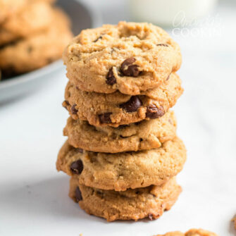 stack of Peanut Butter Oatmeal Chocolate Chip Cookies