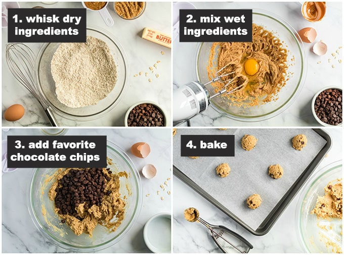 step photos for Peanut Butter Oatmeal Chocolate Chip Cookies