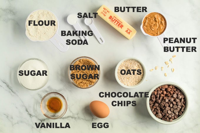 ingredients for Peanut Butter Oatmeal Chocolate Chip Cookies
