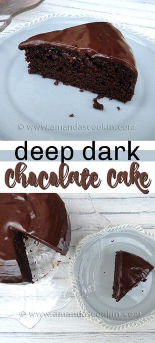 deep dark chocolate cake pin image