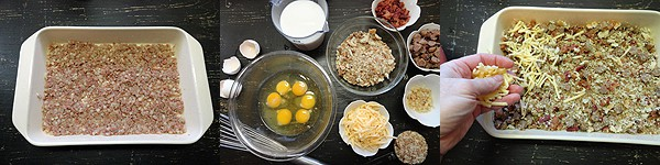 An overhead photo of ingredients to make herbed breakfast stuffing casserole separated in bowls.