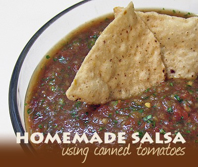 A close up photo of homemade salsa in a bowl with two tortilla chips on top.
