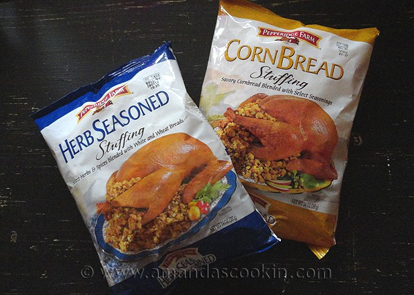A photo of packages of Pepperidge Farms herb seasoned stuffing and a cornbread stuffing.