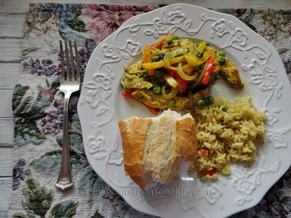 Curried Chicken, Peppers & Peas En Papillote
