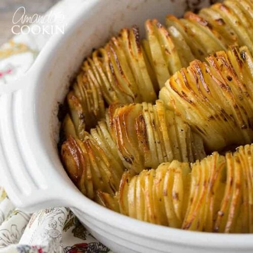 casserole dish of sliced potatoes