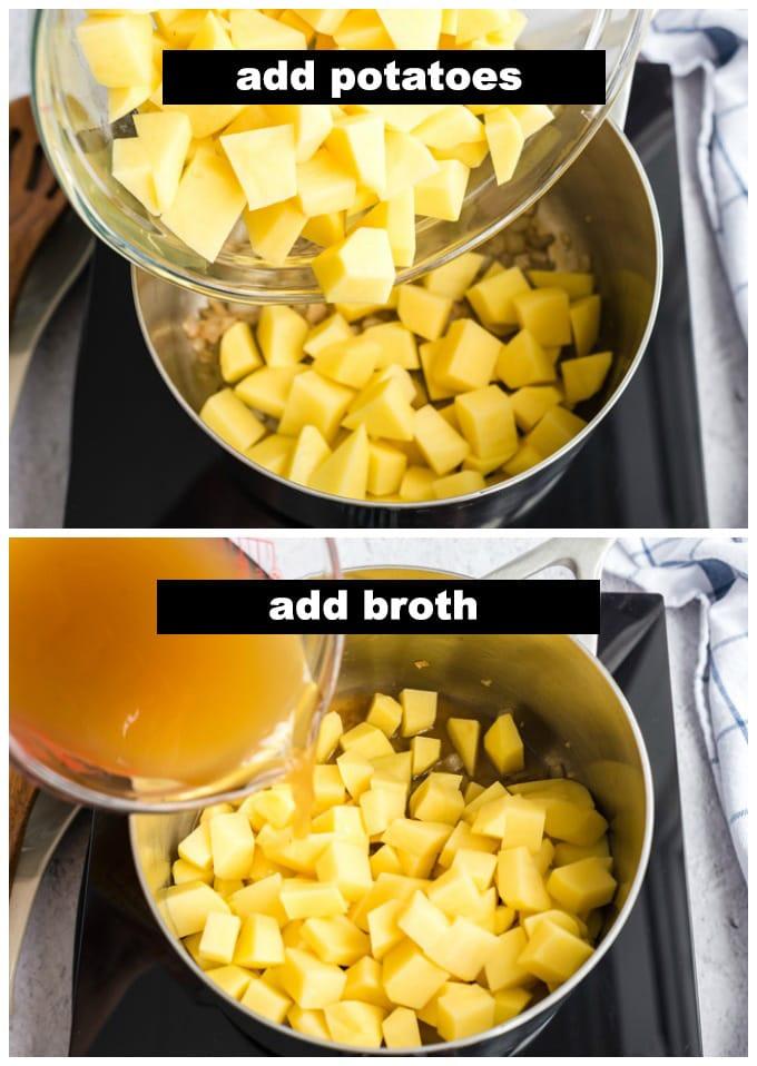 adding potatoes and broth