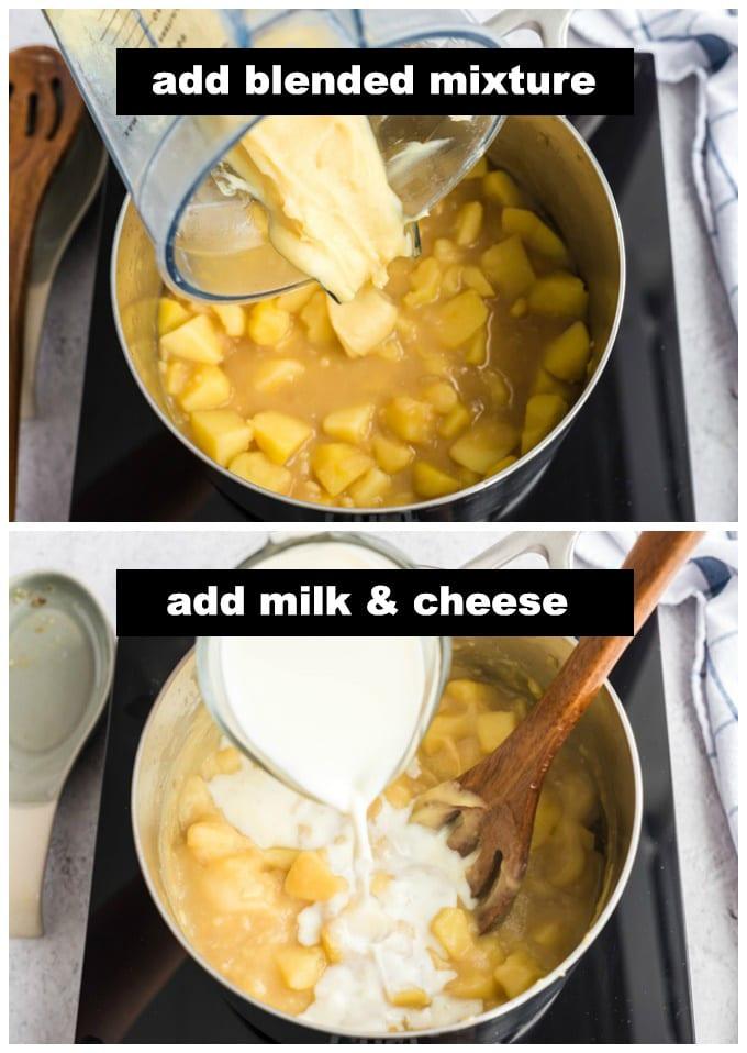 adding blended potato mixture back to pan