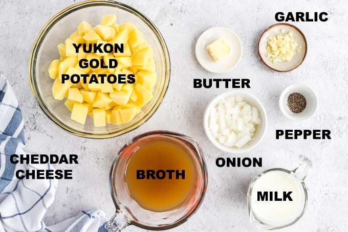 ingredients for potato cheese soup
