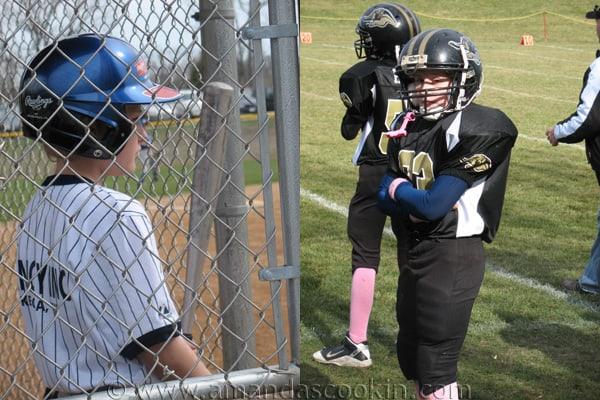 Photos of Amanda\'s son Dominic playing baseball and football.