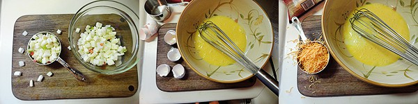 A bowl of beaten eggs with the egg shells t o the side on the counter.
