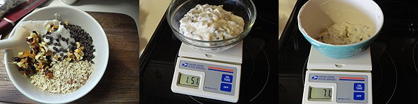 A bowl of food on a kitchen scale