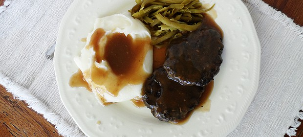 This twist on your favorite salisbury steak replaces half of the ground beef with portobello mushrooms! Hence, portobello salisbury steak.
