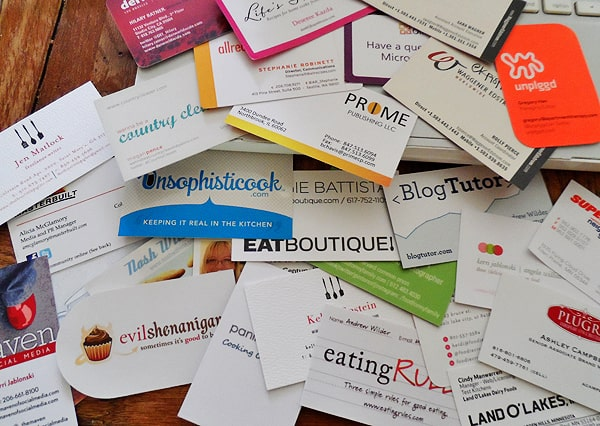 Business cards from BlogHer Food