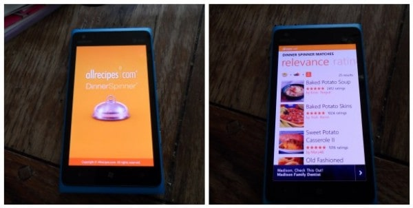 All Recipes app for Windows Phone