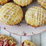 Fresh Strawberry Muffins with Vanilla Lemon Glaze