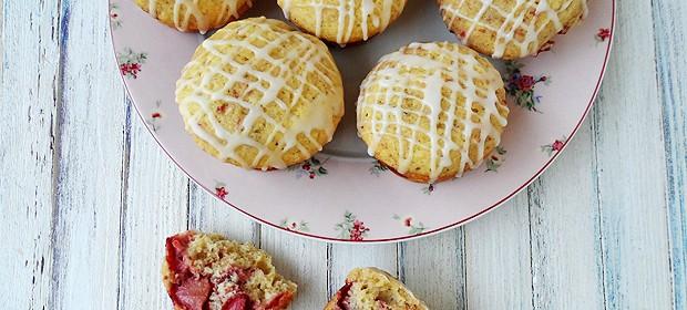 Fresh Strawberry Muffins with Vanilla Lemon Glaze