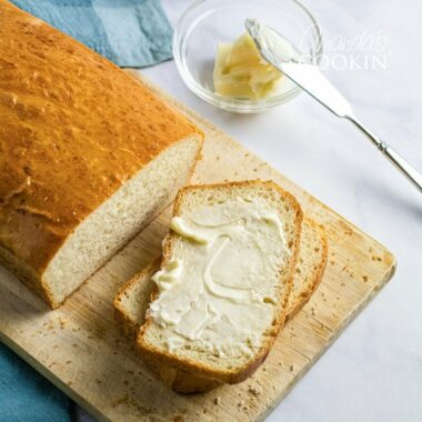 slice of homemade bread with butter