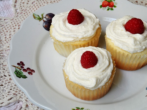 Raspberry Filled White Chocolate Buttercream Cupcakes