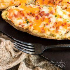 twice baked potato sitting on metal pan
