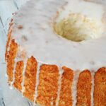A close up photo of a homemade angel food cake.