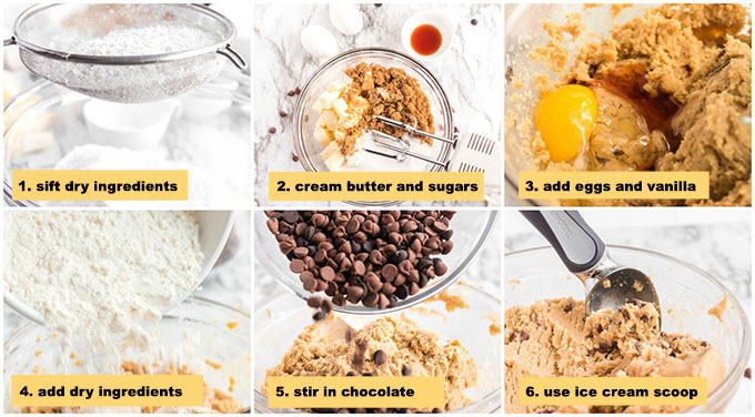 multiple photos showing steps to make chocolate chip cookies