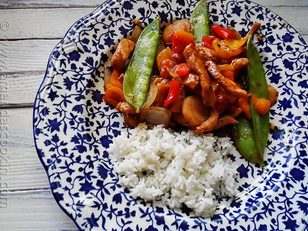Peppered Pork Stir Fry with Sweet Peppers - AmandasCookin.com