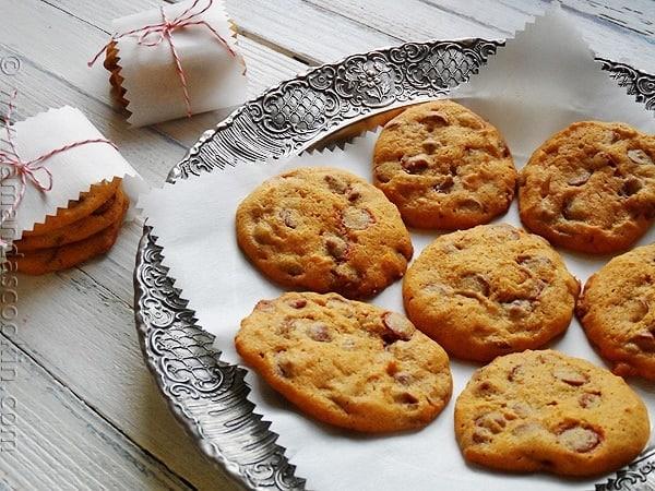 A plate of pumpkin cinnamon chip cookies.