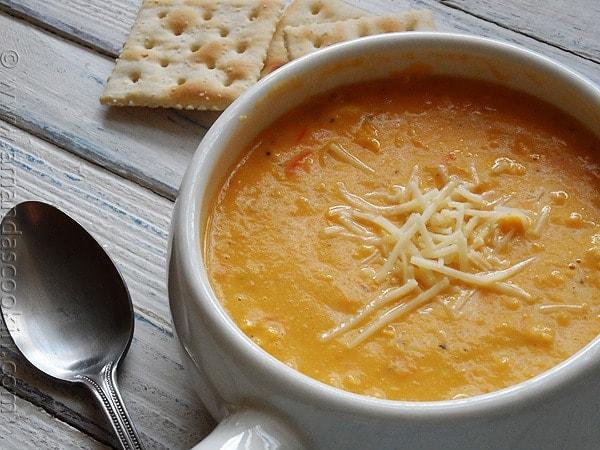 Creamy White Cheddar Corn Soup - AmandasCookin.com