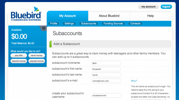 setting up a Bluebird subaccount