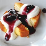 Grilled Pound Cake with Blueberry Sauce and Ricotta Cream - AmandasCookin.com