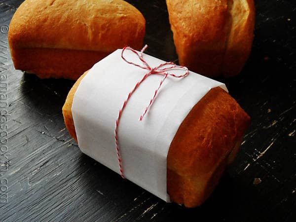 A photo of a wrapped Amish white bread mini loaf.