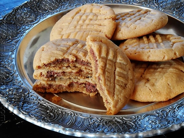 Nutella Filled Peanut Butter Criss Crosses - AmandasCookin.com