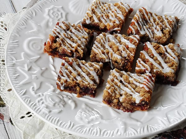 Blackberry Cheese Streusel Bars from AmandasCookin.com @amandaformaro