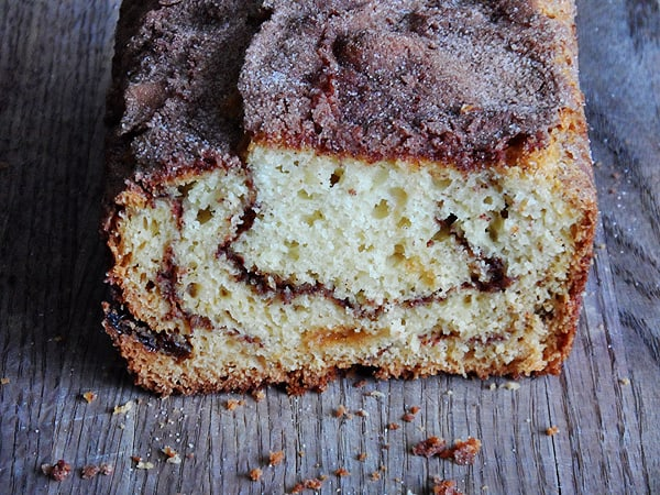 Make this delicious Cinnamon Raisin Swirl Quick Bread from AmandasCookin.com @amandaformaro