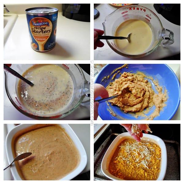 Photos of the steps to make creamy con queso bean dip.