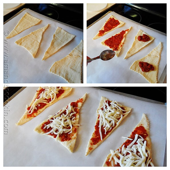 Pizza Crescent Roll Ups from AmandasCookin.com @amandaformaro pefect for game day, the Super Bowl or an after school snack!