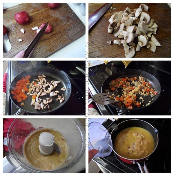 Photos of the steps to make rustic garlic potato soup.
