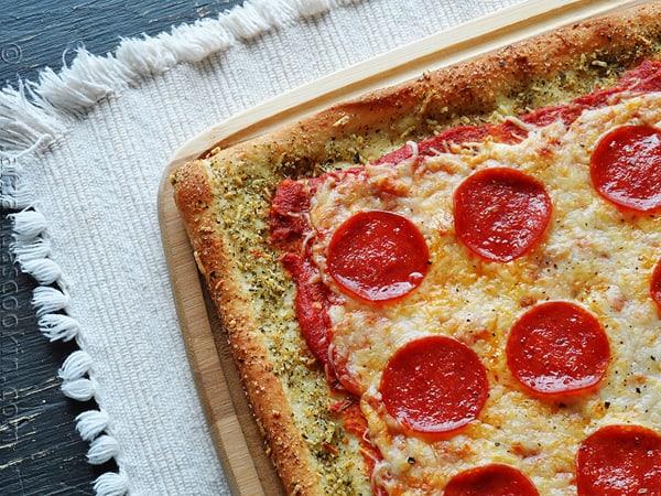 Garlic Bread Pizza: Without the Garlic Bread from AmandasCookin.com @amandaformaro