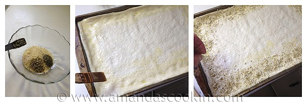 Photos of the steps of adding the garlic salt mixture to the pizza crust.
