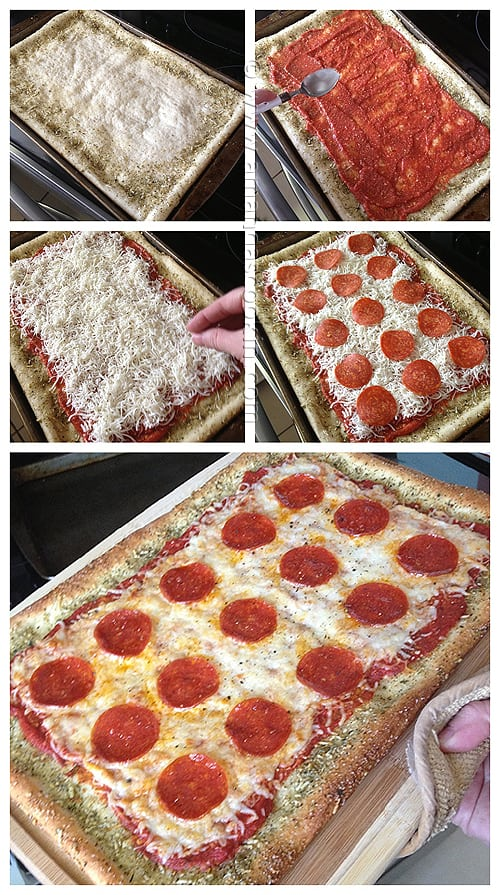 Photos of the steps of making a garlic bread crusted classic pizza.