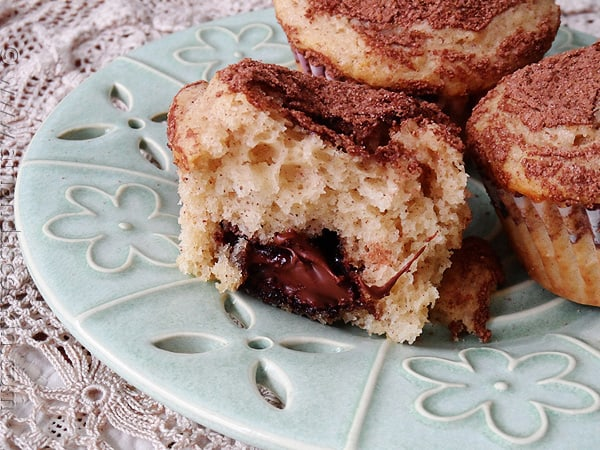 Cocoa Sugar Crusted Muffins with Nutella Filling - AmandasCookin.com @amandaformaro