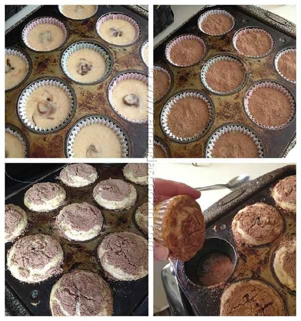 Cocoa Sugar Crusted Muffins with Nutella Filling - AmandasCookin.com @amandaformaro