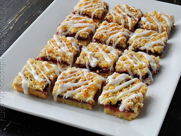 Must make these! Cherry Berry Streusel Dessert Bars via AmandasCookin.com @amandaformaro