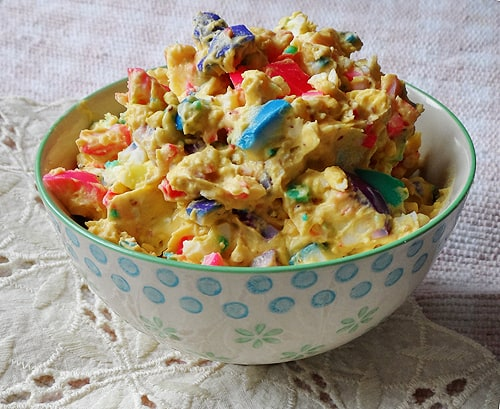Rainbow Deviled Eggs & Egg Salad AmandasCookin.com @amandaformaro