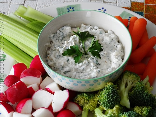 Cheesy Pesto Dip at AmandasCookin.com @amandaformaro