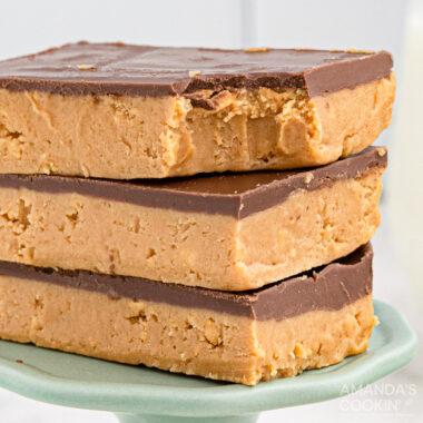 three peanut butter bars