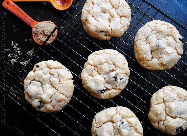 Cherry White Chocolate Chip Cookies from AmandasCookin.com @amandaformaro