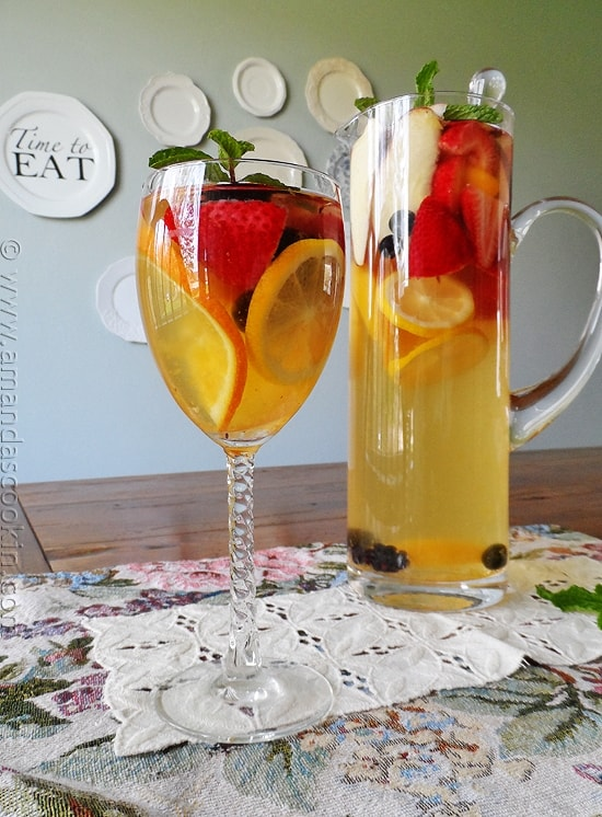 White Moscato Sangria in a glass