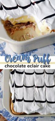 cream puff chocolate eclair cake pin image
